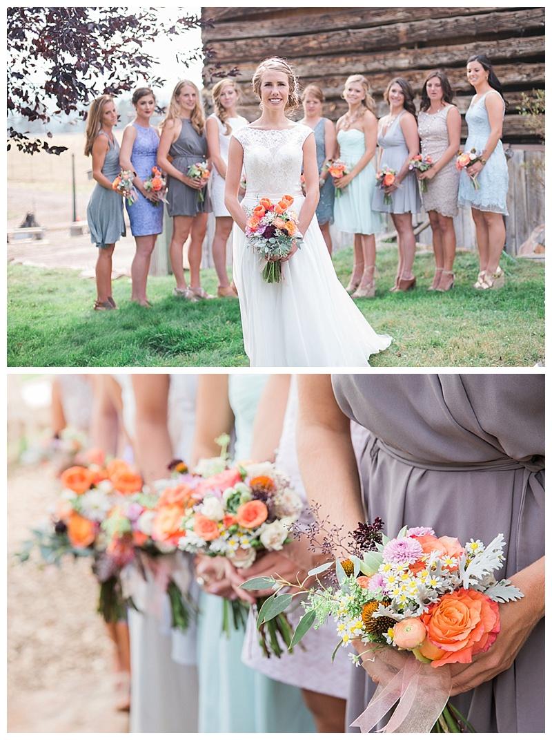Bride and bridesmaids. Mismatched neutrals. Bright bouquets.