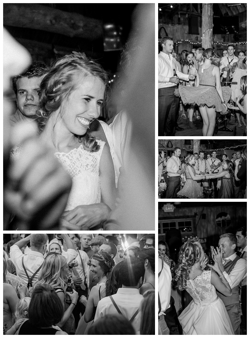 Reception dancing in black and white