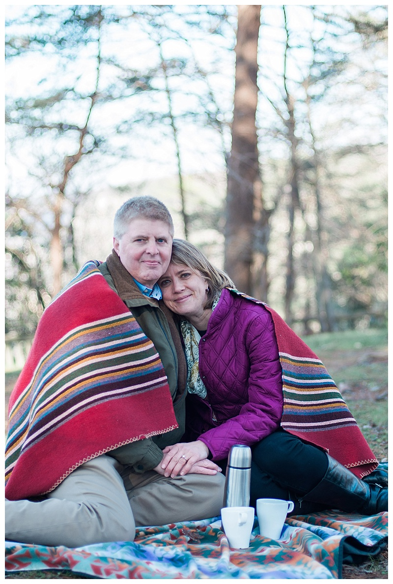 Coffee and a blanket for engagement pictures