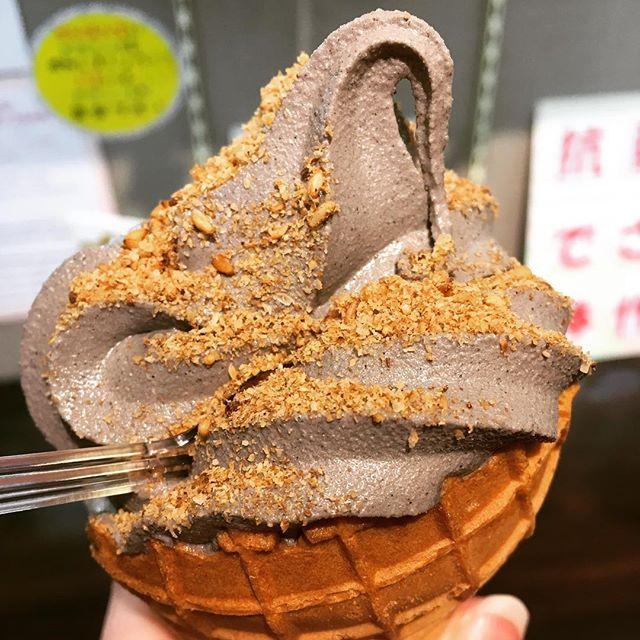 Sesame soft serve in Kyoto 😋