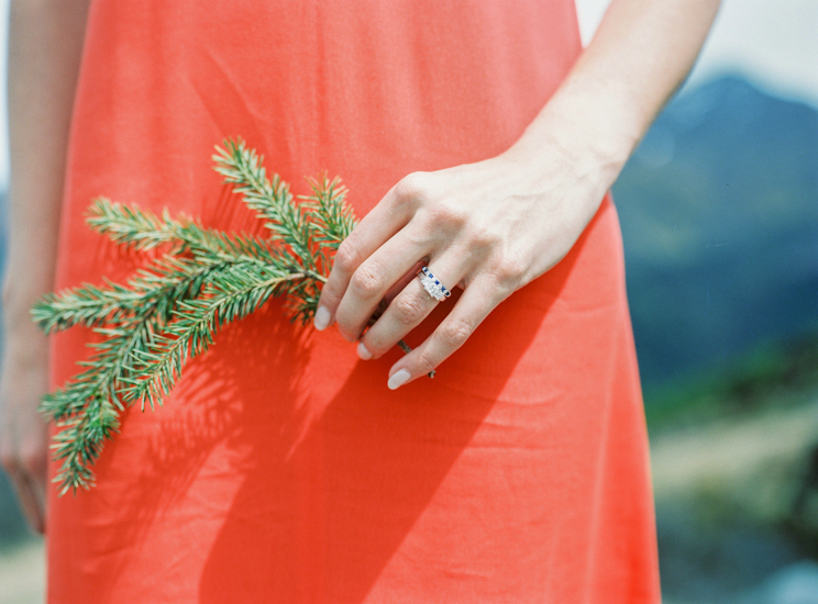 Engagement ring and red dress