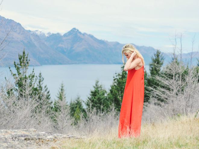 Red dress girl boho bride in New Zealand