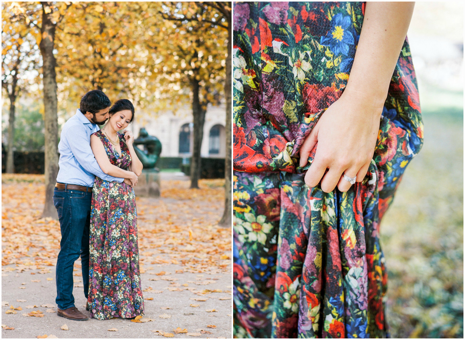 Couple engagement session in Tuileries Garden in Paris