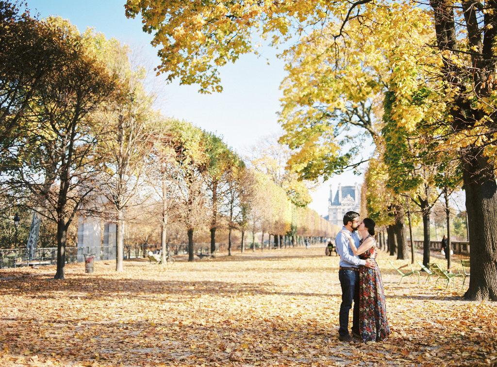 Couple under a tree in Parisian Autumn in Jardin des Tuileries
