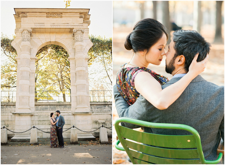 Couple anniversary in Tuileries Garden Paris in Autumn