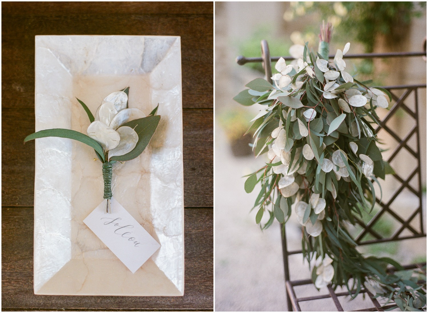 Simple and organic bouquet and boutonniere with Lunaria