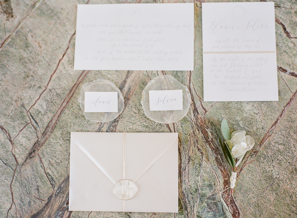 Wedding Suit Styling with lunaria boutonniere