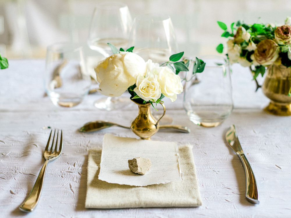 Simple wedding table with peonies