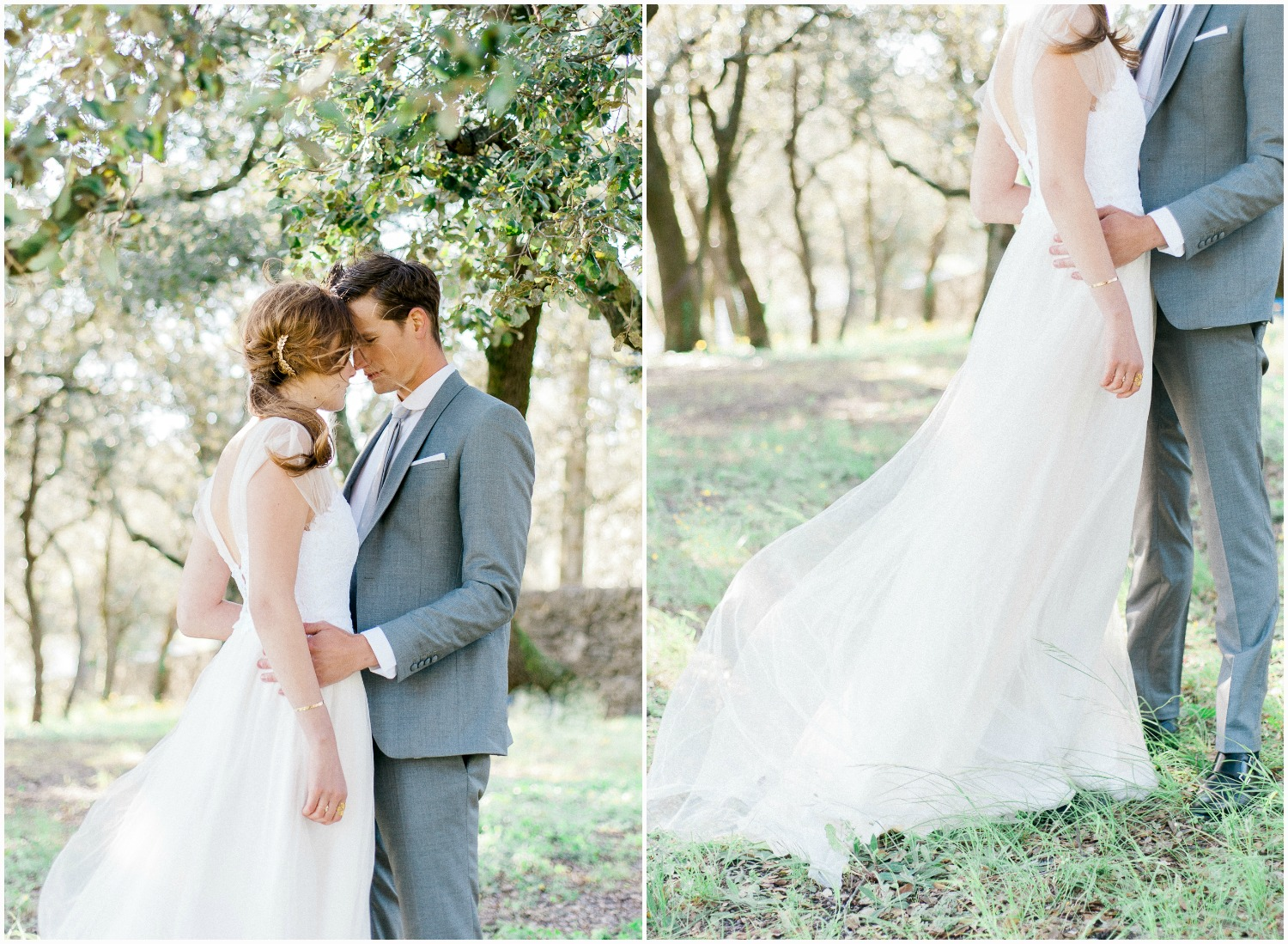 Bride and groom wearing Rime Arodaky bespoke dress and Faubourg Saint Sulpice suit