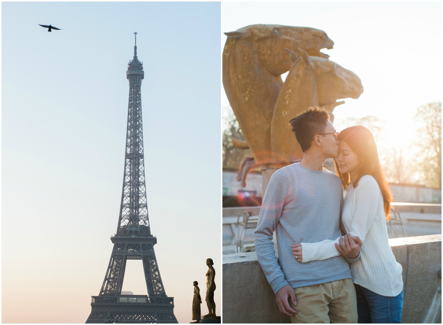 Eiffel Tower at dawn and couple kissing