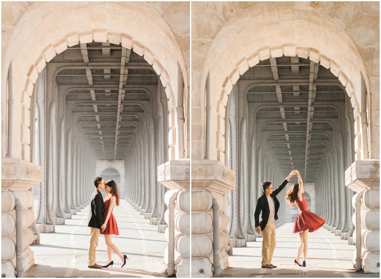 Bride with red dress dancing under Bir Hakeim Bridge in Paris