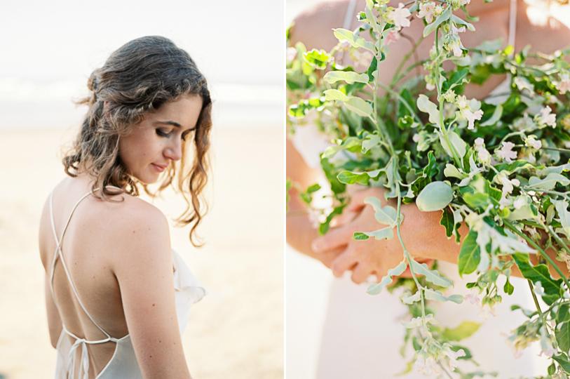 Wedding hair and wild bouquet