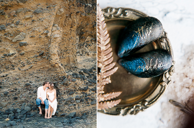 Couple after elopement on Waiheke beach