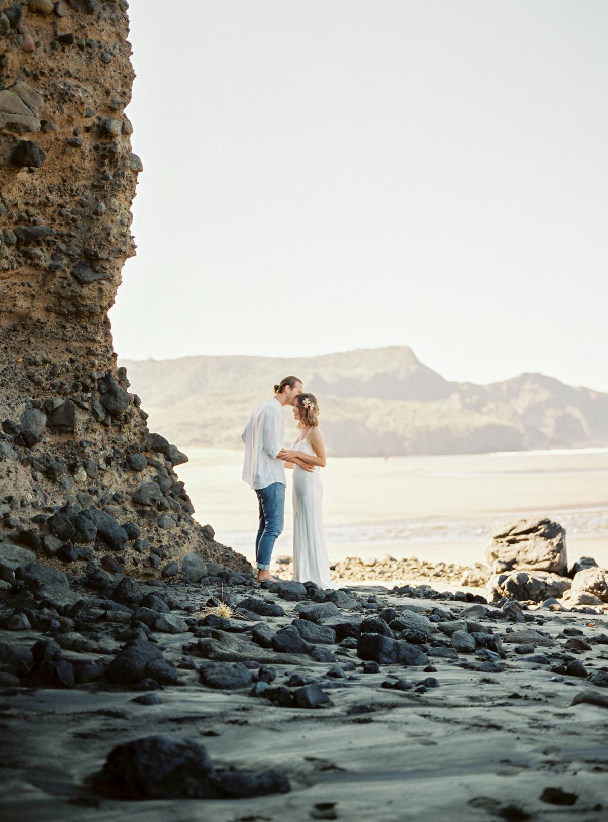 Wild elopement on New Zealand beach