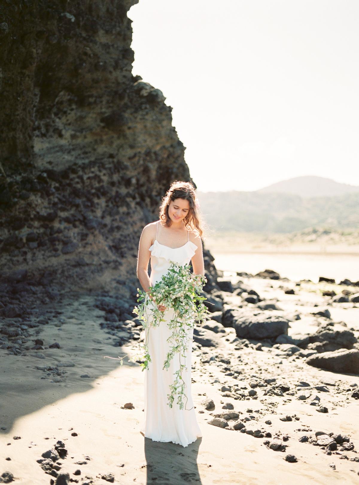 Wild wedding bouquet for beach wedding in New Zealand