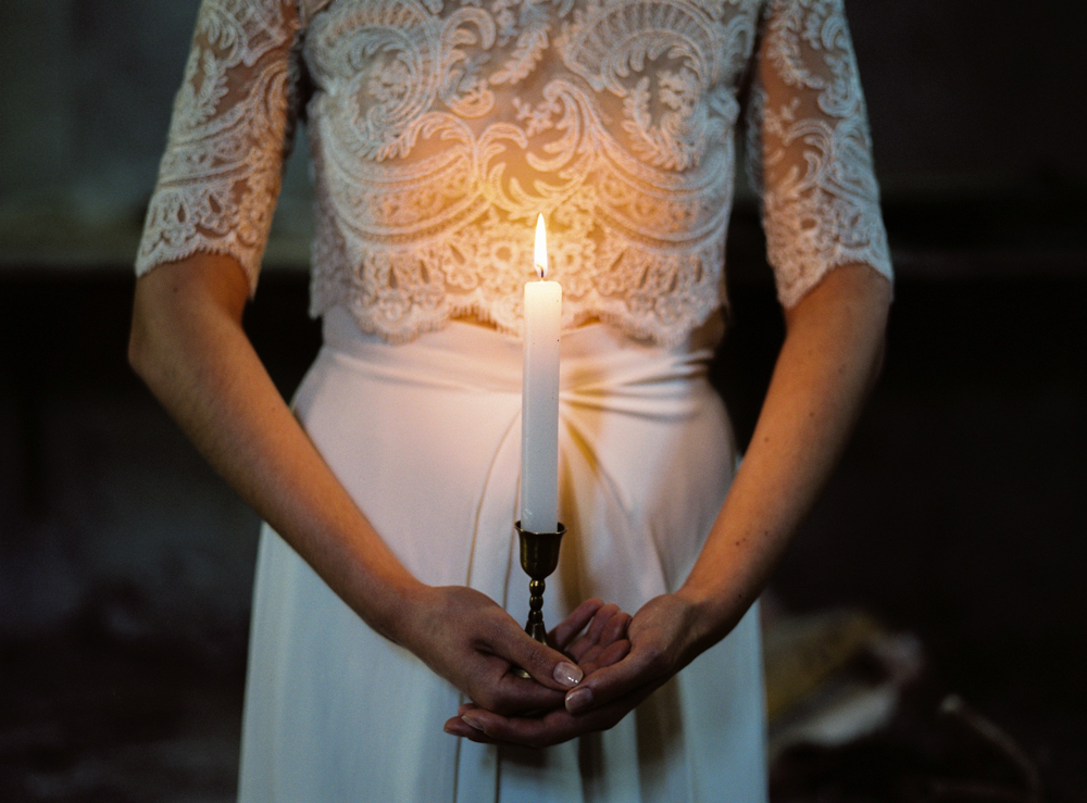 Bride with Candle light in the dark