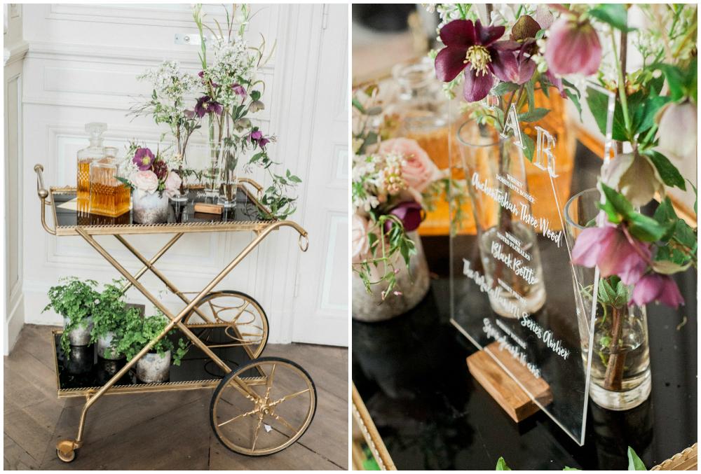 Original ideas for whiskey cart for weddings