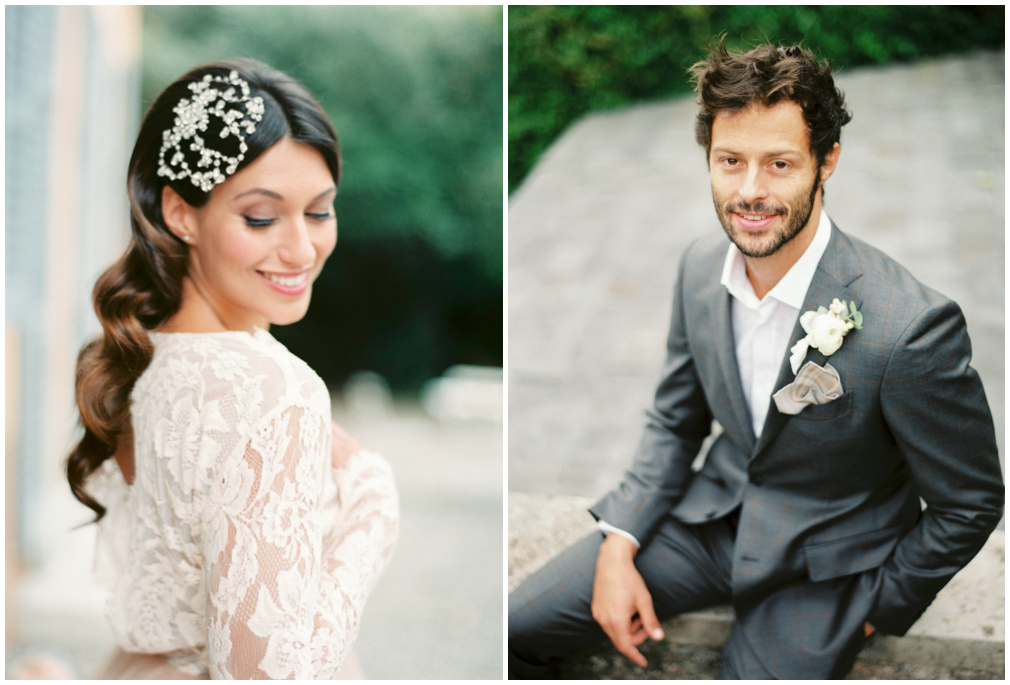 Wedding headpiece and boutonniere
