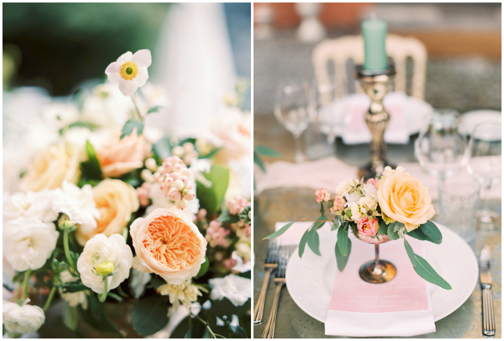 Wedding flowers in peach and pastel colors