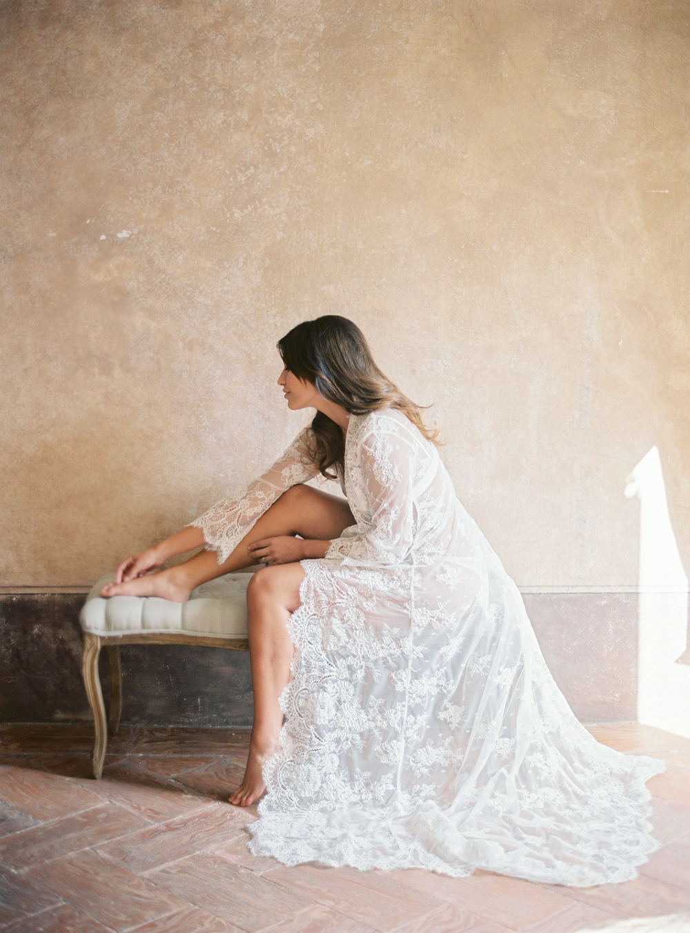 Bride in long Lace robe