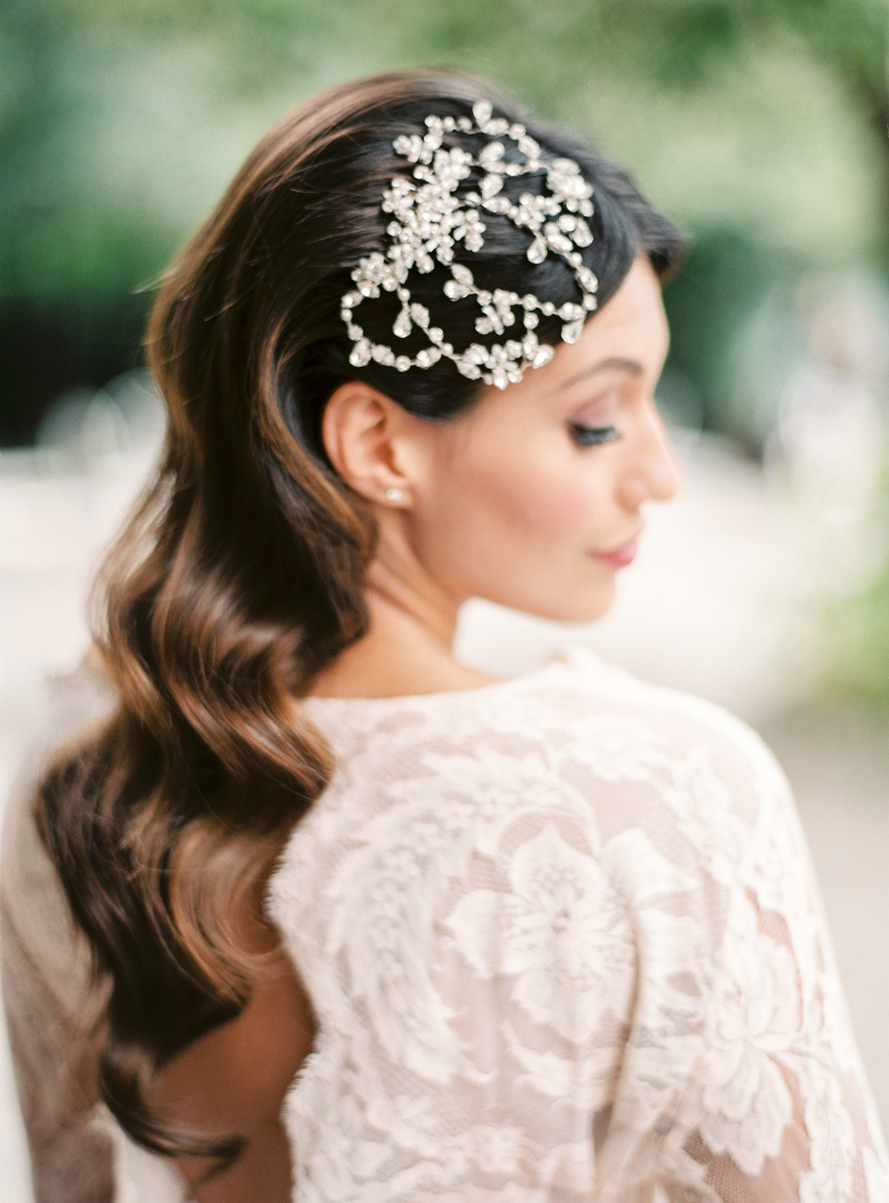 Gorgeous diamond headpiece for wedding in Italy