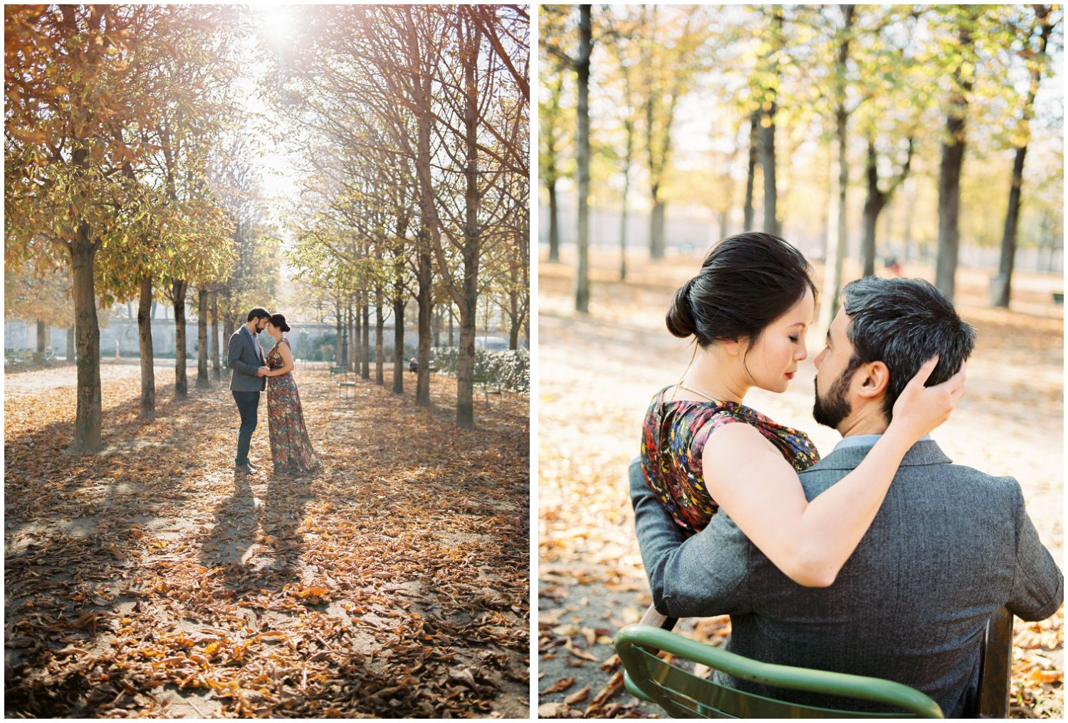 Paris engagement photo in Tuileries garden
