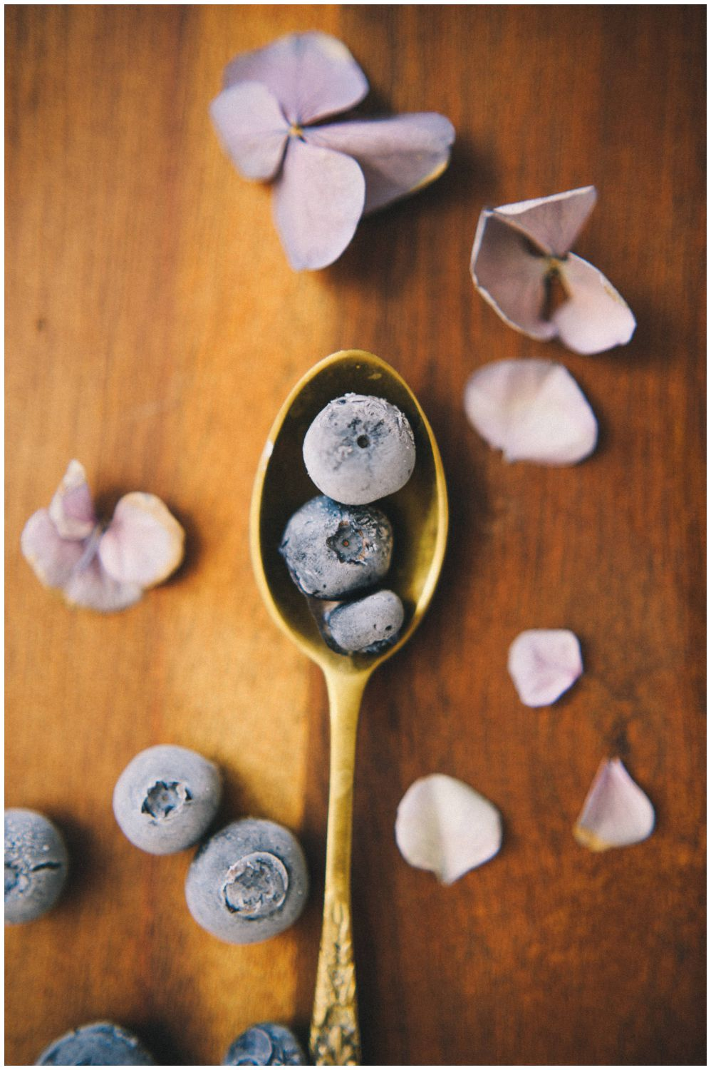 frozen blueberry food styling