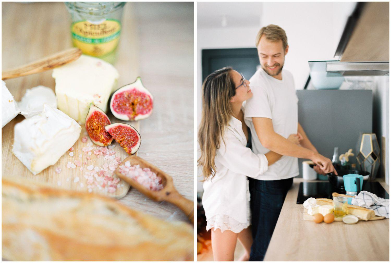 Parisian breakfast engagement photos