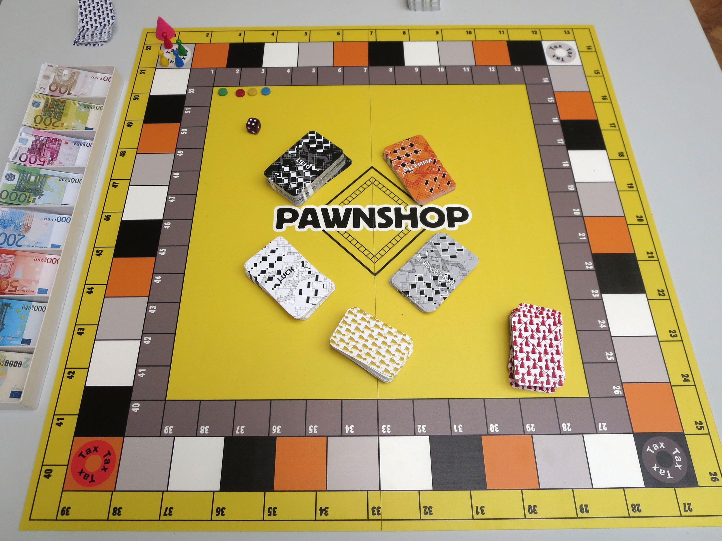 Lina Theodoru,  The Pawnshop,  2014. Forex 69 x 69 cm, 4 game pieces, 4 plastic chips, dice, 378 paper cards, plastic case with fake paper money. Courtesy: Lina Theodorou, Zina Athanassiadou Gallery.