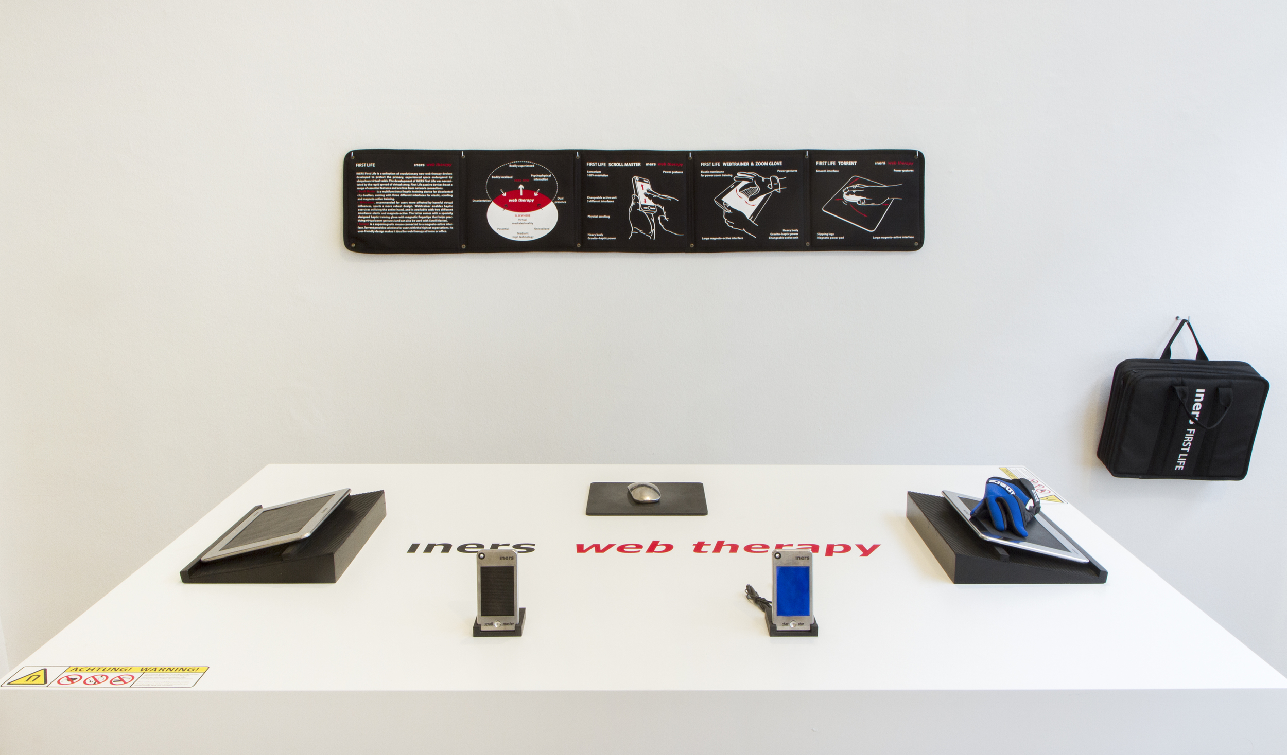 Antal Lakner,  INERS First Life – web therapy.  Scroll master, chat star, zoom glove, webtrainer, torrent. Display for user experience prototype testing, 2012 – 2015. Courtesy: the artist.
