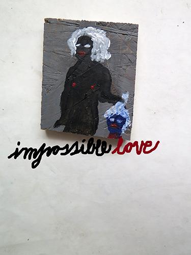 "Adam Christensen ""Impossible Love"", 2015. Acrylic on wood. 8 x 10 cm. Courtesy the artist and Viktor Bucher"