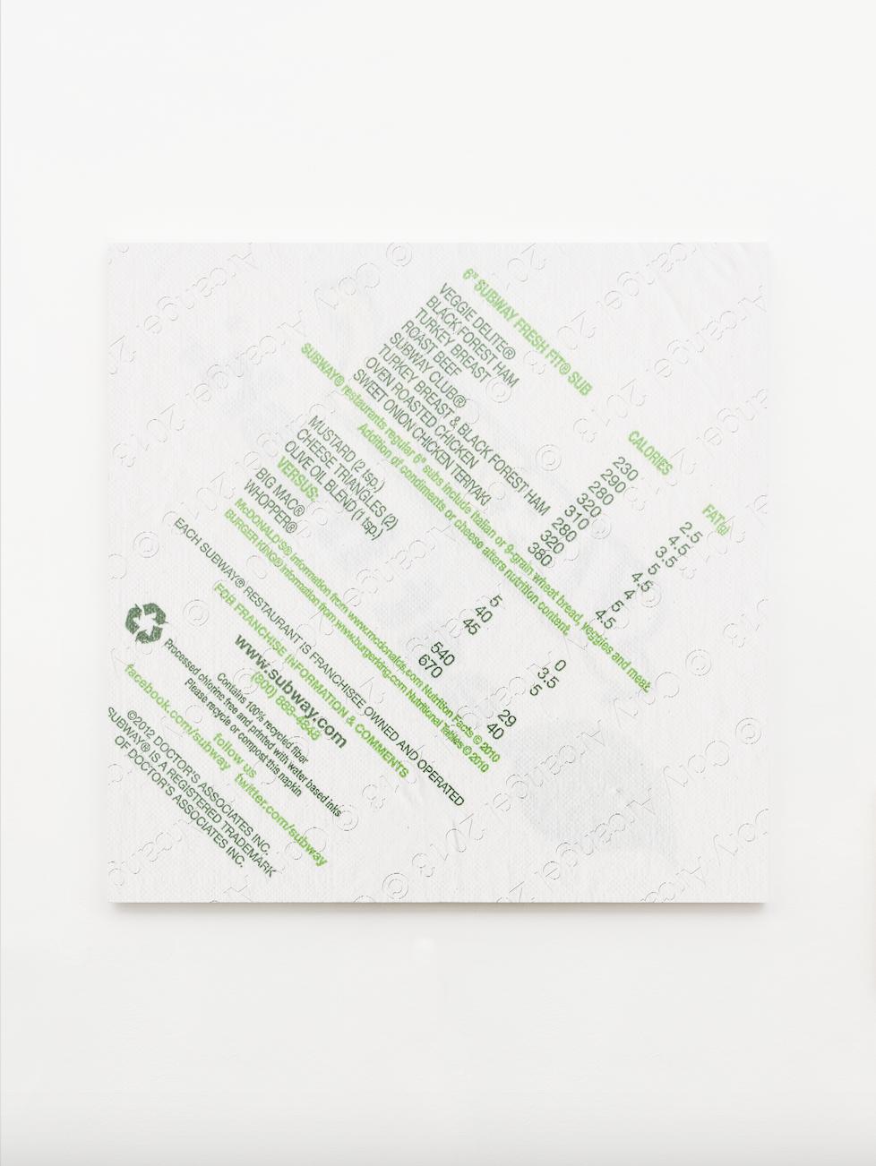 IN REAL LIFE curated by_Luca Lo Pinto, CORY ARCANGEL, Napkin, 2013, Inkjet Print auf Leinwand, 142,2 x 142,2 x 2,5 cm, Photo: Christine König Galerie, Vienna, 2014, Courtesy: Cory Arcangel und Christine König Galerie