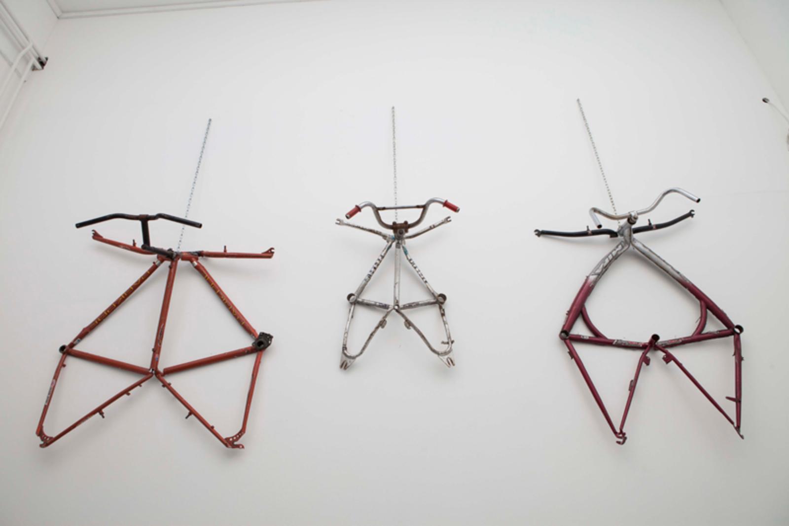 #underthestars, curated by_Maja & Reuben Fowkes, TIBOR HORVÁTH, Bicycle Family Suits, 2014, installation, dimensions variable, Photo: Andrea Gáldi Vinkó, Courtesy: acb gálerie Budapest