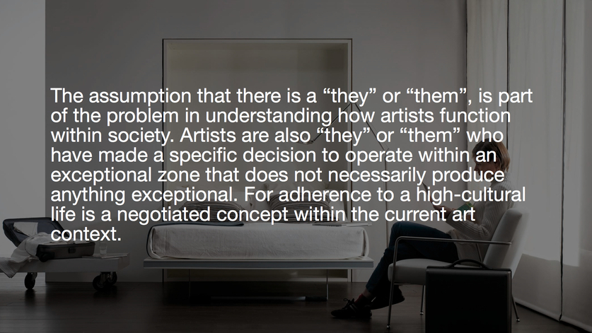 International Company of Wagons Lit etc. etc. curated by_Liam Gillick & Rachel Harrison, LIAM GILLICK, Half a Complex, 2014, PowerPoint presentation, Video projector, box, Wall with opening and soffit (optional), Courtesy: Liam Gillick and Galerie Meyer Kainer, Vienna, 2014