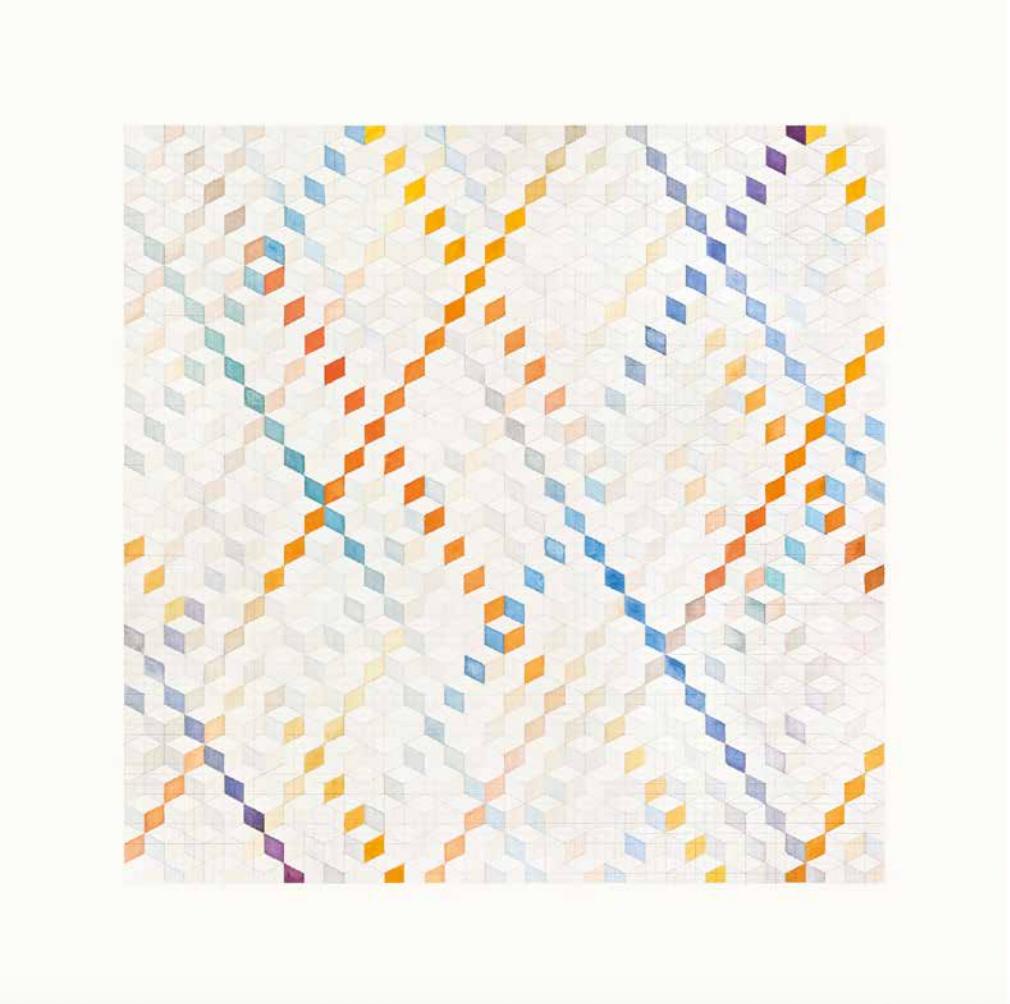 Spinnig on an Axis, curated by_Basak Senova & Stephane Ackermann, Benji Boyadgian, The Architects Whim, 2013 Aus der Serie A Journey into Abstrabesque, 2013, Wasserfarbe auf Papier, 75 ×75 cm