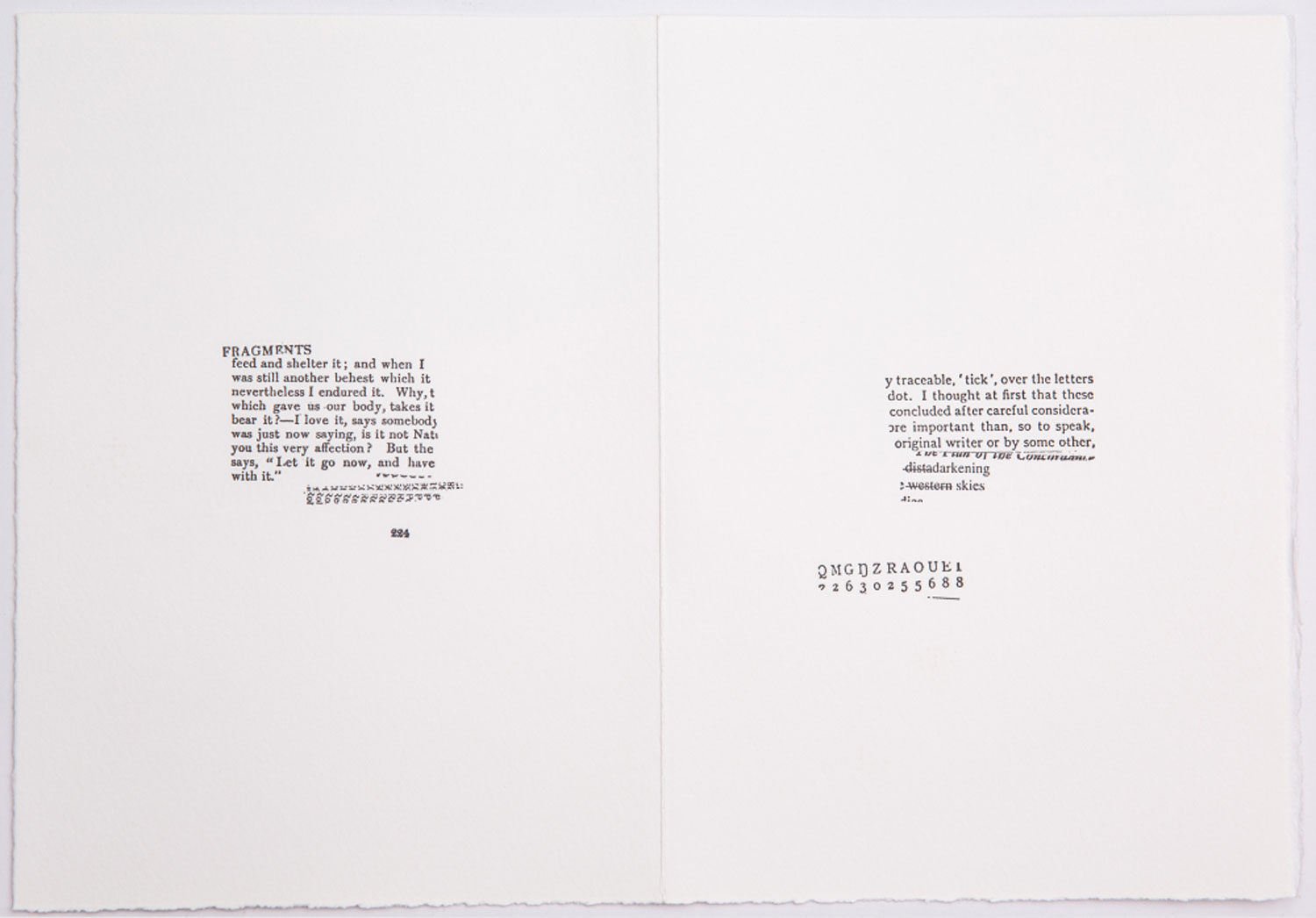 SUSAN HOWE  from the series / aus der Serie CONCORDANCE, 2018 Typewriter on hand-made paper / Schreibmaschine auf Büttenpapier Courtesy Christine König Galerie, Vienna / Wien and the artist / und die Künstlerin
