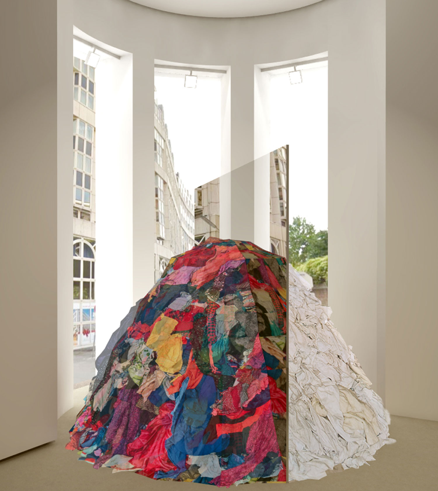 MICHELANGELO PISTOLETTO  METAMORFOSI (FOR VIENNA), 2018 Mirror, rags, site specific dimensions