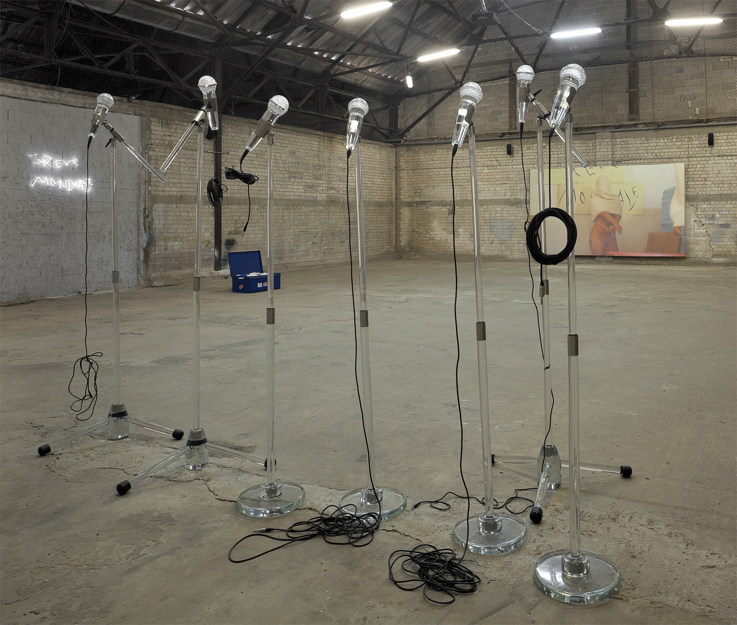 Fatalité 2011 Adel Abdessemed  Installation with 7 hand-blown Murano glass microphones, variable dimensions, exhibition view, NU, 2011, Dvir Gallery, Tel Aviv Courtesy of Dvir Gallery, Tel-Aviv and Brussels
