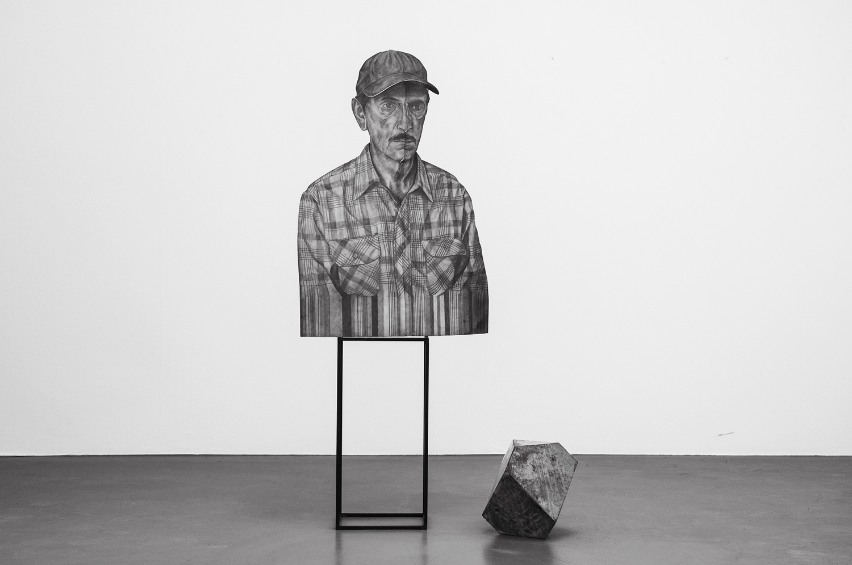 Melancolía 2014 Daniel Otero Torres  Installation of two sculptures. Graphite on inox, steel, concrete, 52 x 123 x 49 cm Courtesy of the artist and mor charpentier, Paris