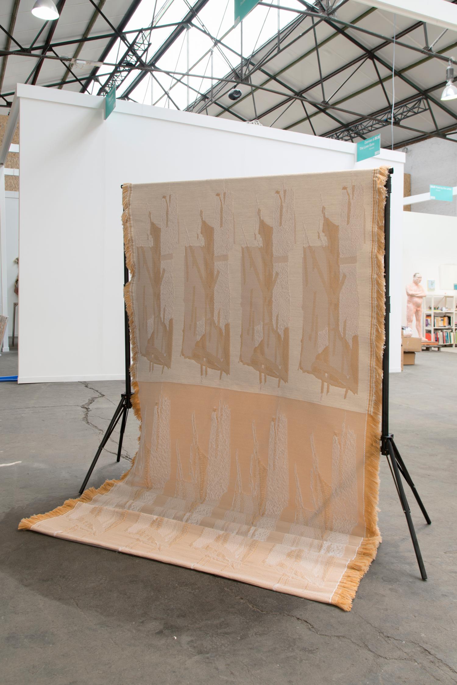 Softwares 2019 Hana Miletić  Double Jacquard-woven textile manipulated by hand (white polyester, skin colored polyamide, beige polyamide, white wool and silk), textile: 150x400x0.5cm Courtesy of the artist and LambdaLambdaLambda, Prishtina   Photo: Isabelle Arthuis
