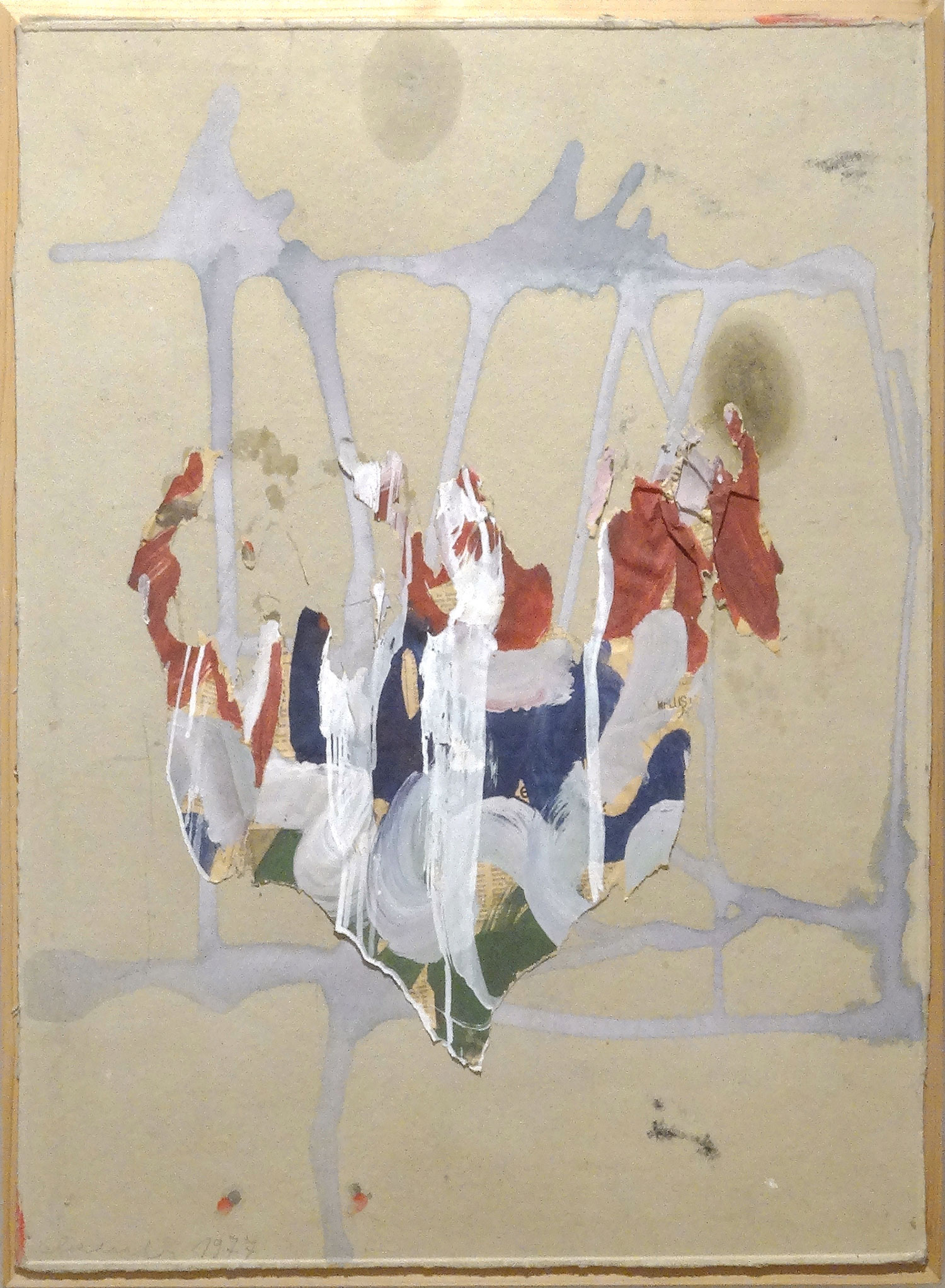 Mondlandschaft 1967  Oswald Oberhuber  Mixed media, collage on cardboard 75 x 55 cm
