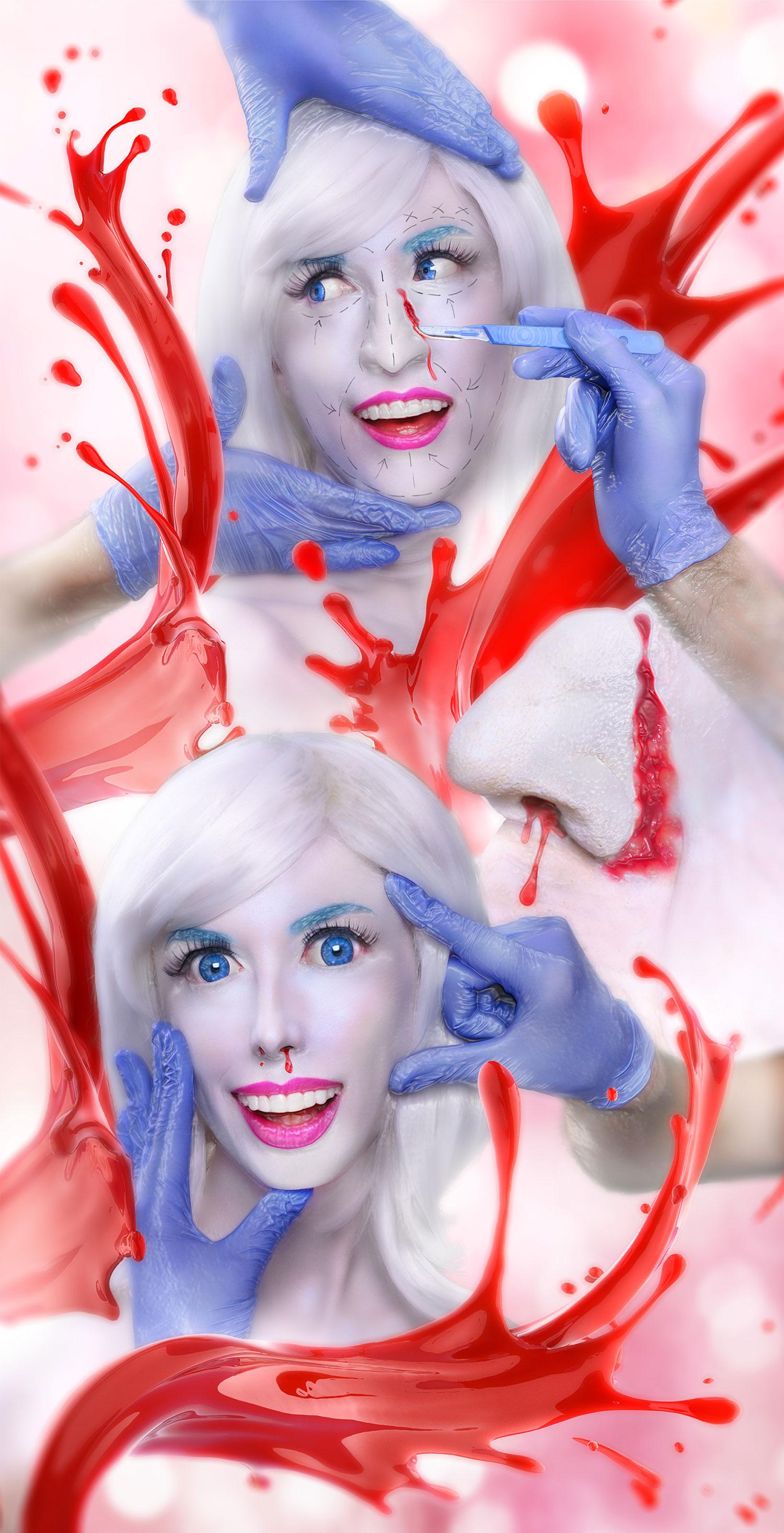 Mending A Face 2019 Rachel Maclean  Lightbox, aluminium frame, 2600 mm x 860 mm  Courtesy of the artist
