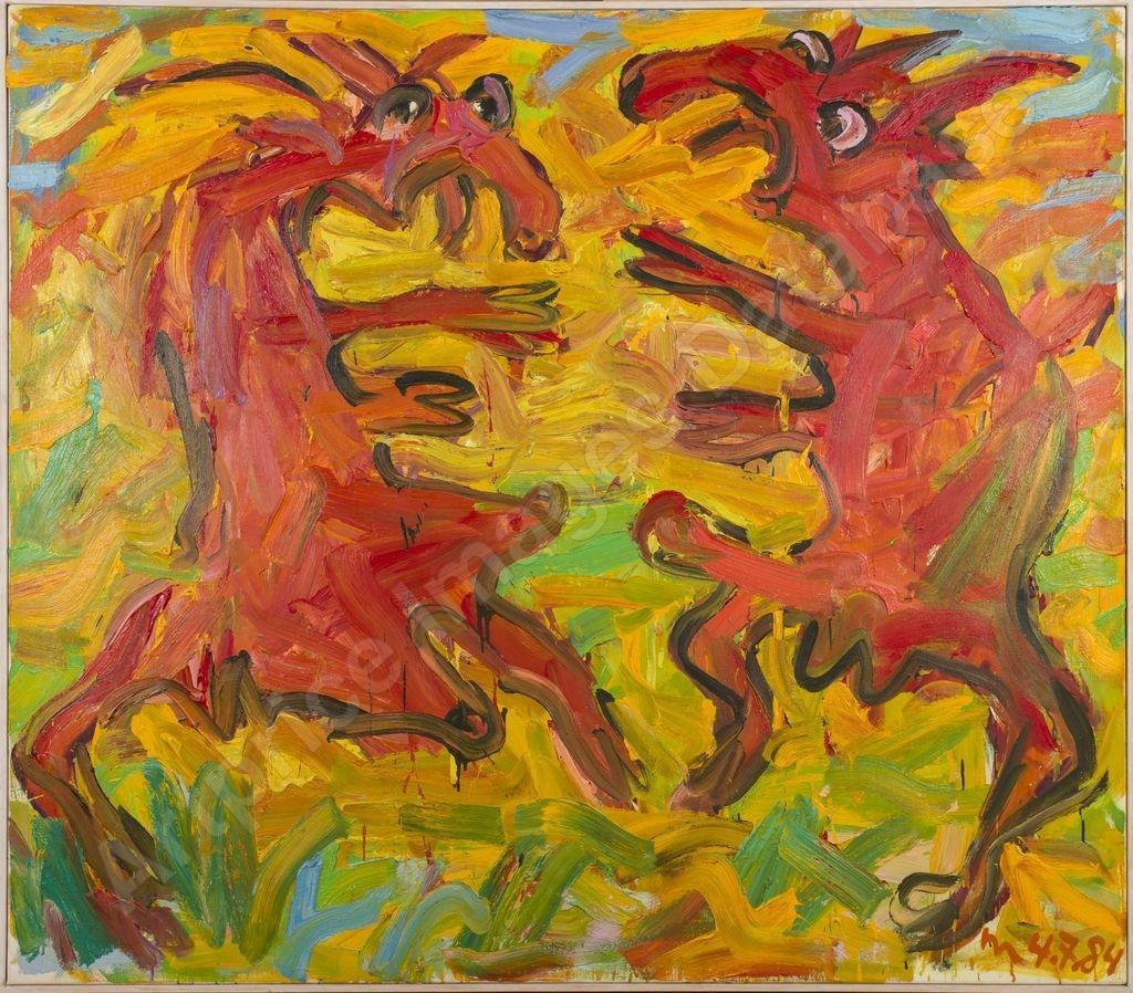 Zwei Ziegen 1984 Otto Muehl  Oil on canvas, 140 x 160 cm  Courtesy of the Otto Muehl estate