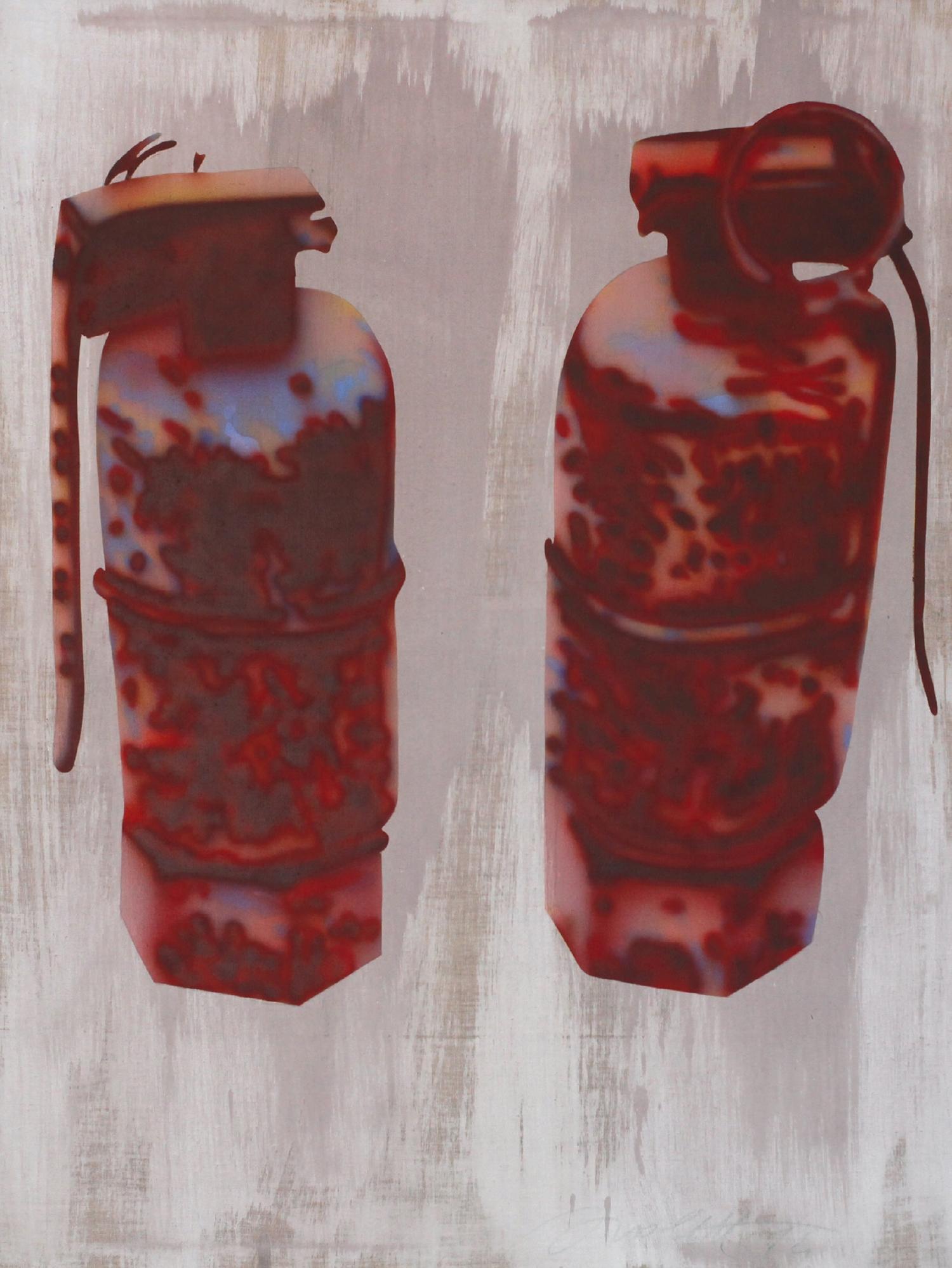 Handgranaten (from the series: Stilleben) 1974  Robert Lettner  Acrylic on canvas (air brush), 129.1 x 99.2 cm Courtesy of Margit Lettner, Vienna  Photo: Robert Lettner / Markus Lettner / Archive Robert Lettner, 2018