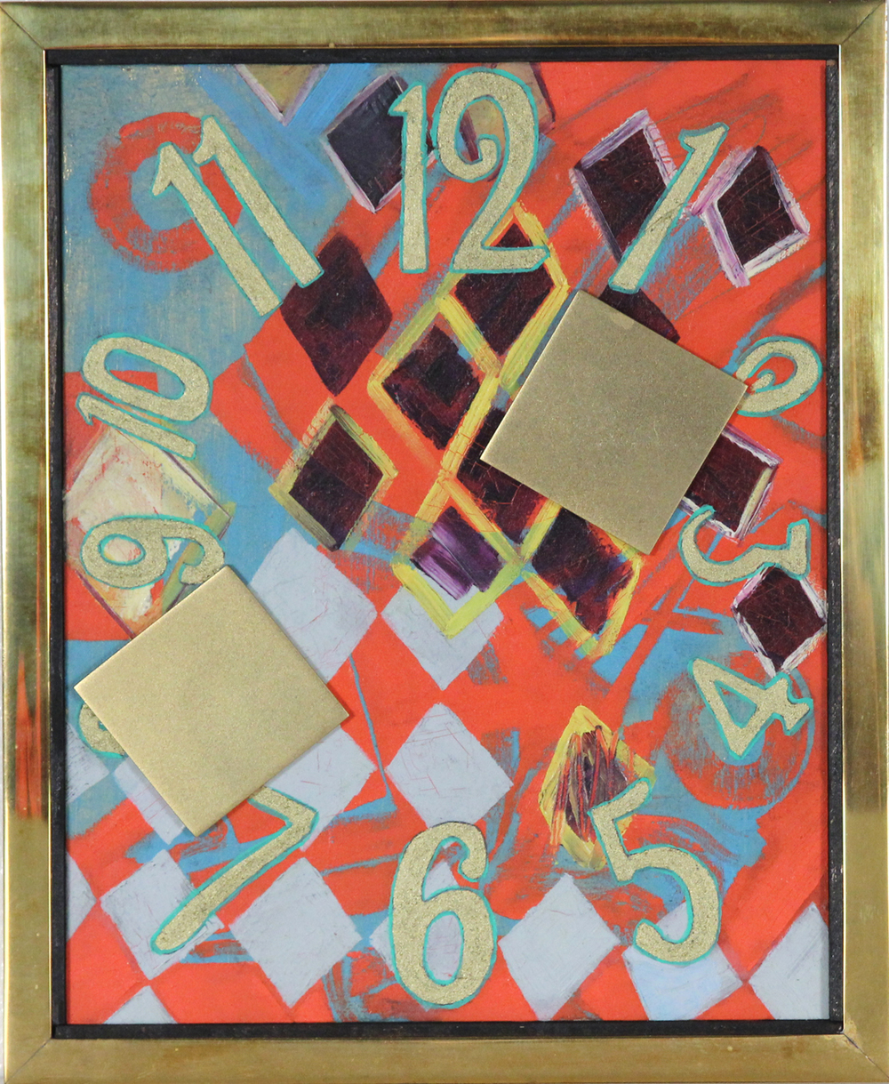 Twice a Day   (2010) Oil and bronze powder on panel with gilt bronze applications and frame. Series: Clockface Painting 11 x 9 in. (27.9 x 22.9 cm) Reference: IS.GEN.6.242