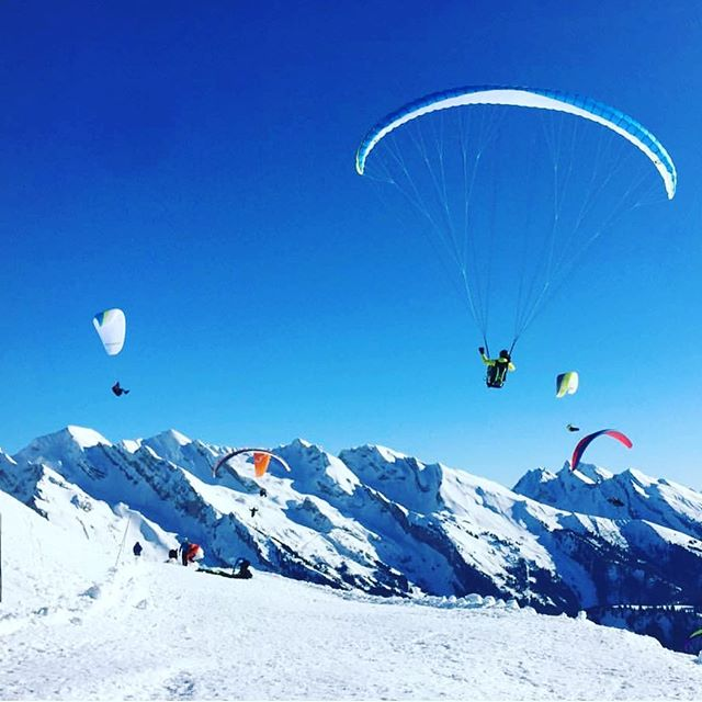 Para-heaven!!! The snow has gone now but we're still flying. If you're looking to develop your mountain flying in a safe environment with endless flying opportunities come to La Ferme with @flightculture this August. DM me for more info! 💙🇫🇷❄️🕊🏔☀️