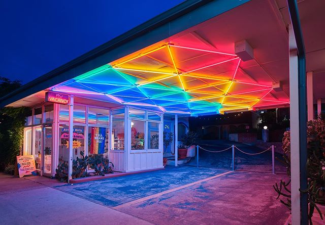 Add a little neon 🌈 to your life. Visit @austinmotel and get that boost of color you've been craving...and a damn good night's sleep too. Book your stay today! 📷: @nicksimonite #bunkhousehotels