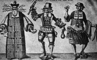 Satirical representations of physician (long robe), the pharmacist, and  the surgeon (short robe).