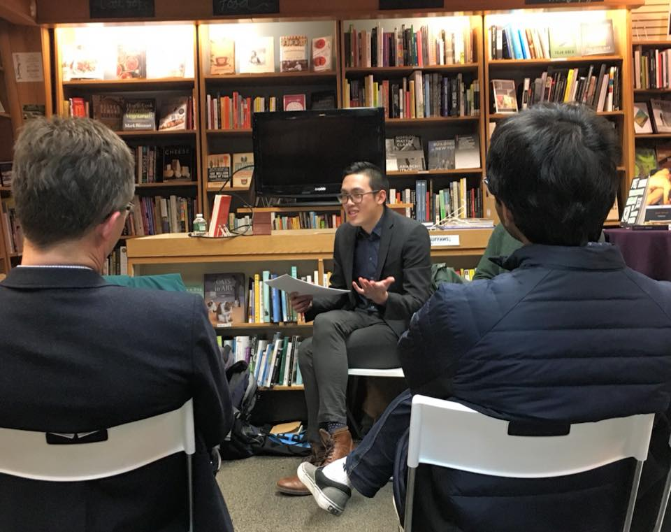 Talking about Galvani and the history of science at the Frankenstein at 200 event at Penn Book Center.