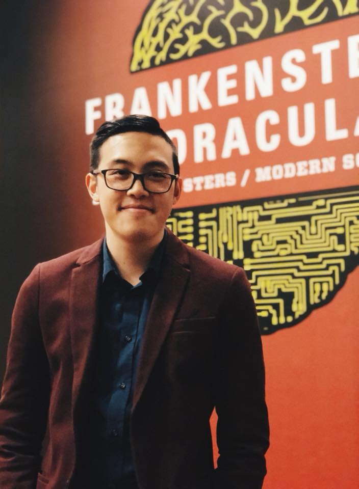 Post-lecture at Rosenbach Museum and Library in front of the Frankenstein/Dracula exhibit with my wall text